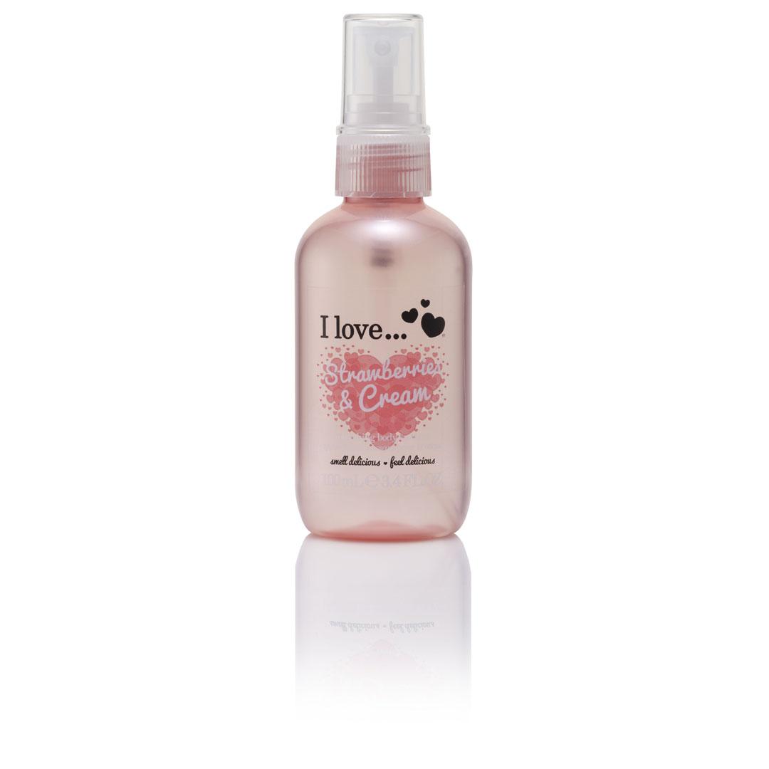 Άρωμα σώματος σε σπρέι με άρωμα φράουλα και σαντιγί από την εταιρεία i love!